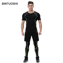 BINTUOSHI 3 Pieces Mens Sports Suits Running Clothes For Men Short Compression Tights Gym Fitness Shirt With Legging And Shorts