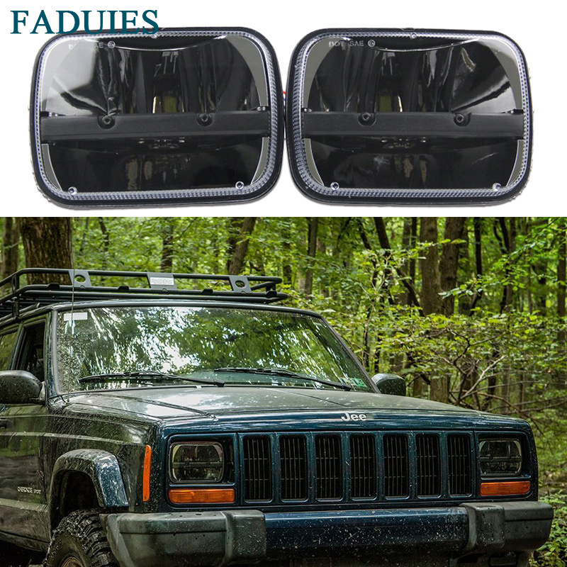 FADUIES 2psc Truck 5x7 Rectangular LED Headlight Kit Hi / Low Beam Headlights For Jeep YJ Wrangler XJ Cherokee MJ Comanche электробритва remington tf70