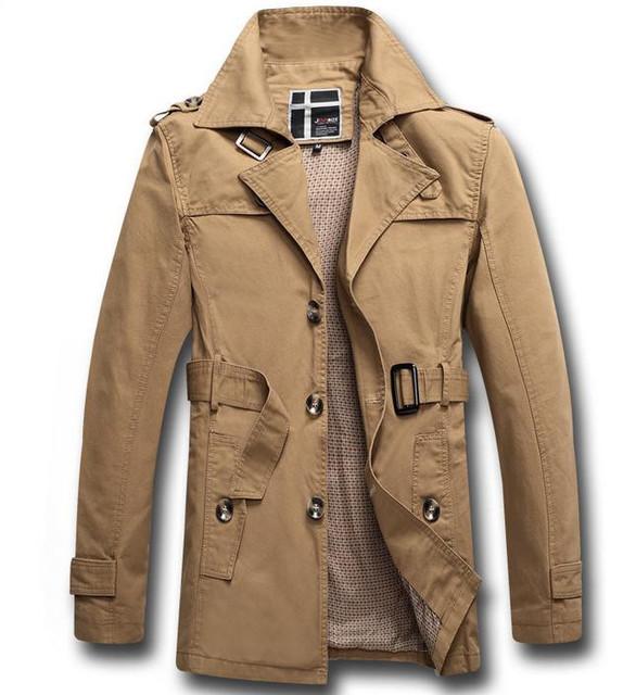 Ropa masculina largas secciones de la solapa de la chaqueta con la correa moda otoño invierno viento hombre escudo capa de foso Tops M-XXXL
