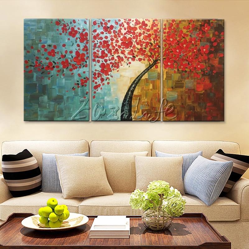 Canvas tree oljemålning 3 delar palettkniv 3D-textur röda blommor - Heminredning - Foto 3