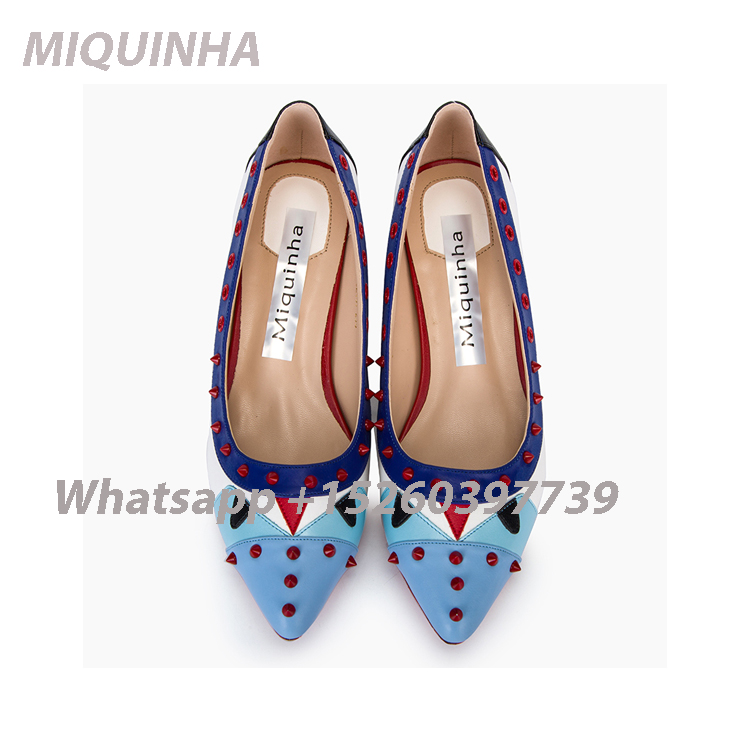 ФОТО Own Brand Designer Mixed Color Little Monster Women Pumps Thick Heels Hot Fashion Rivets Shallow Pointed Toe Women Causal Shoes