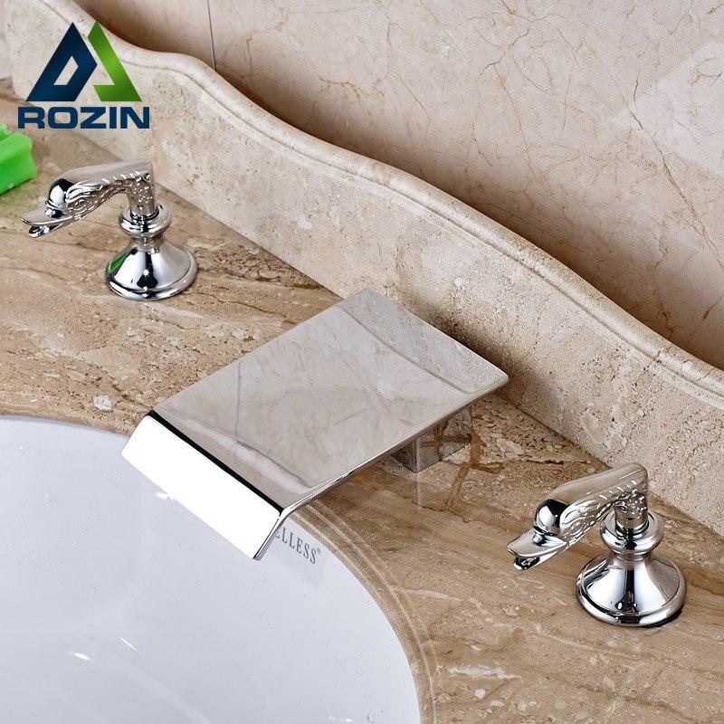 Deck Mount 2 Handles 3 Holes Basin Faucet Bathroom Brass Chrome Waterfall Mixers Tap modern chrome brass bathroom basin faucet 2 handles 3 holes vanity mixer tap