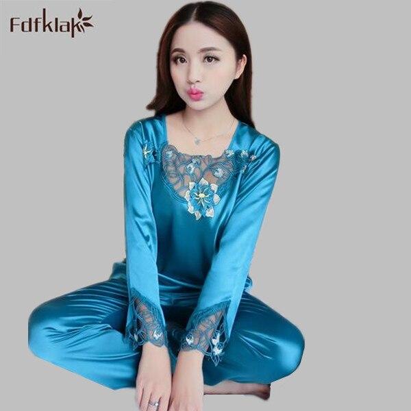 9f44ca82c1f New silk womens satin pajamas 2017 elegant flower print sleepwear lace  pijama long sleeve spring summer pyjamas women A569