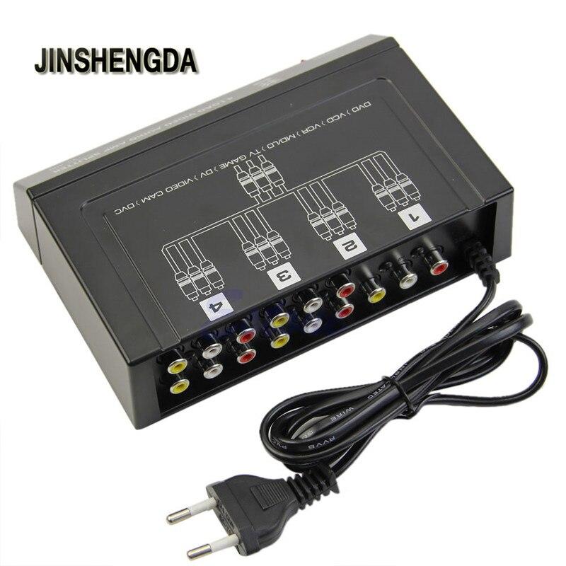 JINSHENGDA Amplificateur UE Plug 4 Voies 1 À 4 Sur 3 RCA Vidéo Audio AMP Amplificateur Splitter HDTV DVD VCD 4 Ports