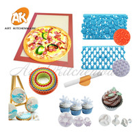 Fonodant Cake Decorating Tools Set Rolling Pin Embossed Silicone Insulated mat Cookie Cutter Pizza Dough Mat Bakeware