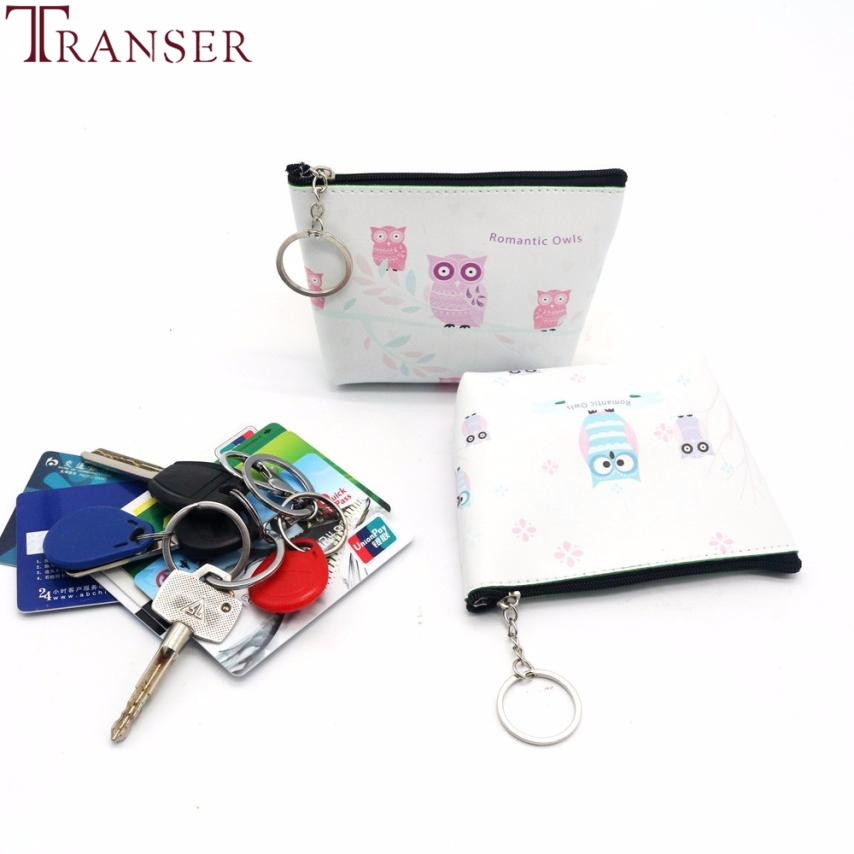 Transer Fashion cute animal owl print Women Girls Lady Leather Small Wallet Coin Purse Clutch Bag wholesale drop shipping wu10