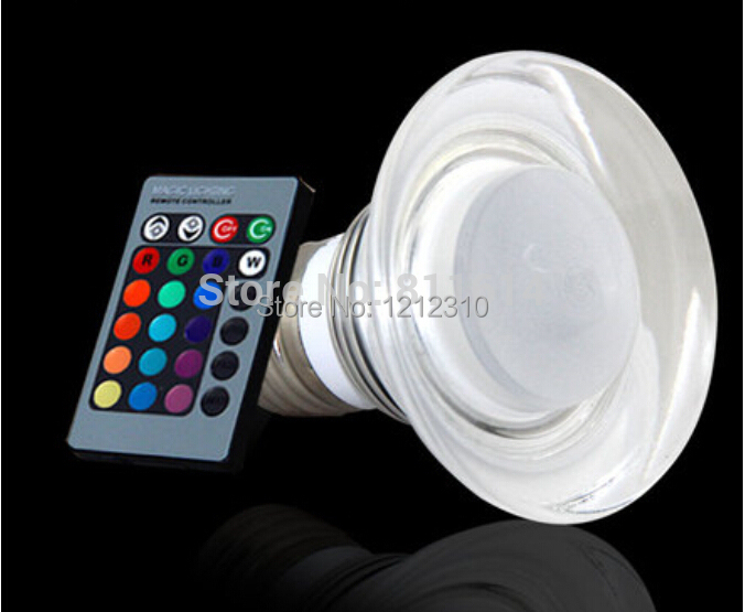 AC 90~240V 4W E27 RGB LED Bulb Lamp 16 Colors changing Crystal LED spot light with Remote Control free shipping [mingben] led bulb e27 rgb stage 16 colorful change lamp spotlight 110v 127v 220v home party wedding with ir remote