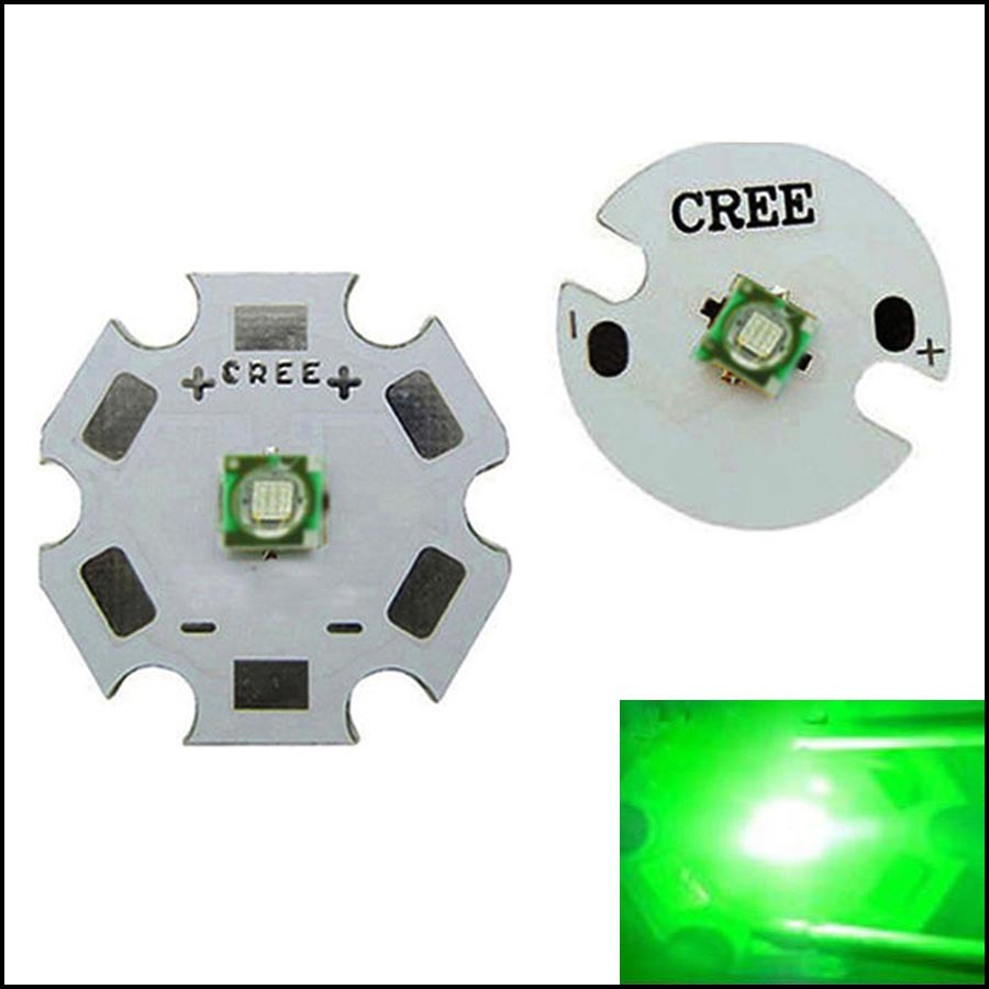 5pcs 1-3W Cree XP-E Green 520~530nm LED Light Emitter With 20mm Star Base 100LM