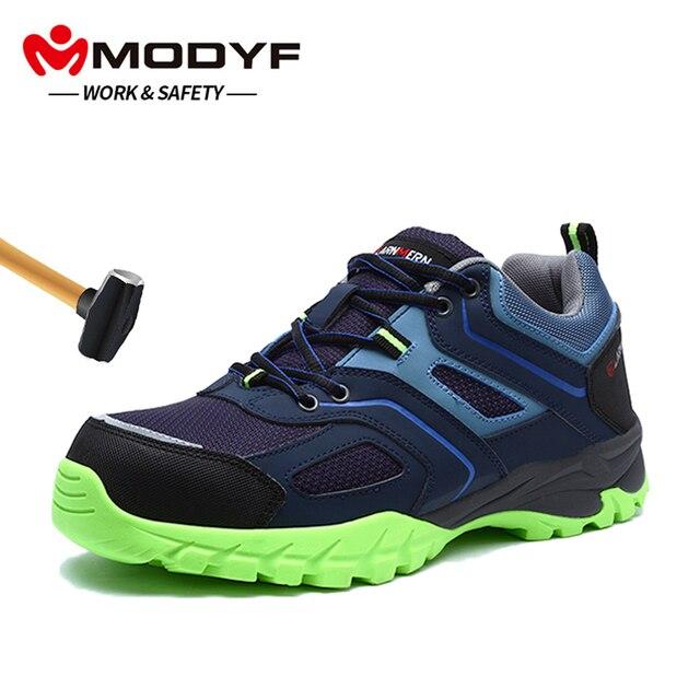 MODYF Для Мужчин's Сталь носком Рабочая безопасная обувь Легкий дышащий материал; Рабочая обувь анти-прокол Non-Slip Светоотражающие Повседневное тапки