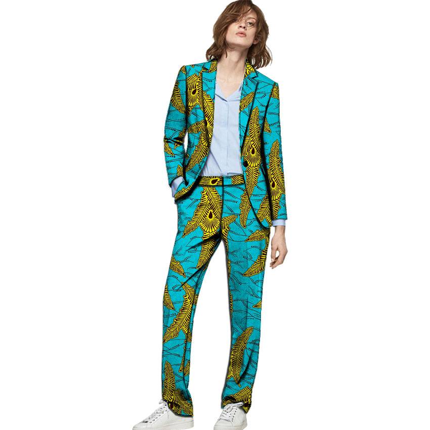 African Clothes Women Print Suits Blazers With Trousers Ankara Fashion Pant Suits Customized Wedding Female Formal Outfits
