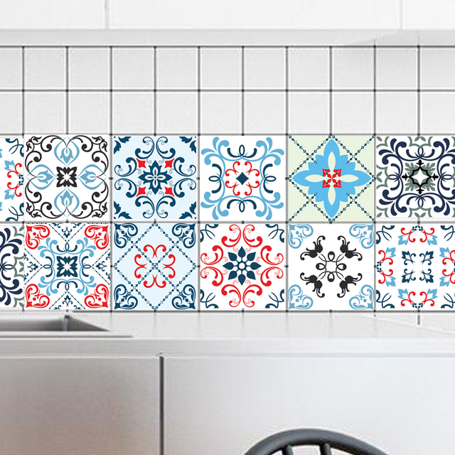 20 20cm 10pcs Pvc Colorful Mosaic Waterproof Self Adhesive Wallpaper Kitchen Mediterranean Tile Sticker