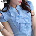 Women clothing fashion Short-sleeve V-neck chiffon shirt slim OL 2015 summer top female elegant Beading Ruffles blouse plus size