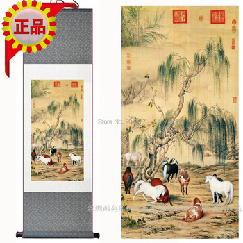 Classic Chinese Silk Scroll Art Decorative Living Room Steed Horse Paintings size L 40 x 12 inch 1pcs Free