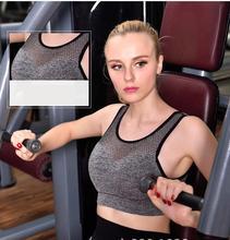 Women sports bra top fitness Yoga Shirt training bra Shake-proof Mesh Sports Bra GYM TANK TOP Wire Free Cup Running Sport Bra