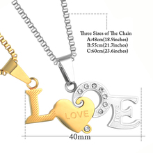 2Pcs Love Necklace Pendant For Lovers Friendship Jewelry Gold/Silver Color Stainless Steel Couple Necklace Best Friend Forever
