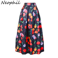 Neophil Oil Painting Graffiti Fruit Floral Printed Pleated Bohemian High Waist Maxi Long Skirts Muslim Female