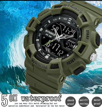 eb35097a2258 Reloj Inteligente Hombre SYNOKE multifunción 50 M impermeable LED Digital  de doble acción Reloj Erkek Kol Saati
