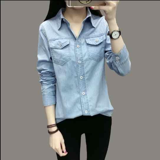 0171c6c103aa2 Джинсовая рубашка женская рубашка с длинными рукавами Женская Джинсовая  блузка Классическая рубашка Джинсы для женщин 2018
