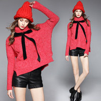 MUMUZI 2017 Winter Merry Christmas Red Turtleneck Sweater Warm Thick Short Front Long Back Sweaters With