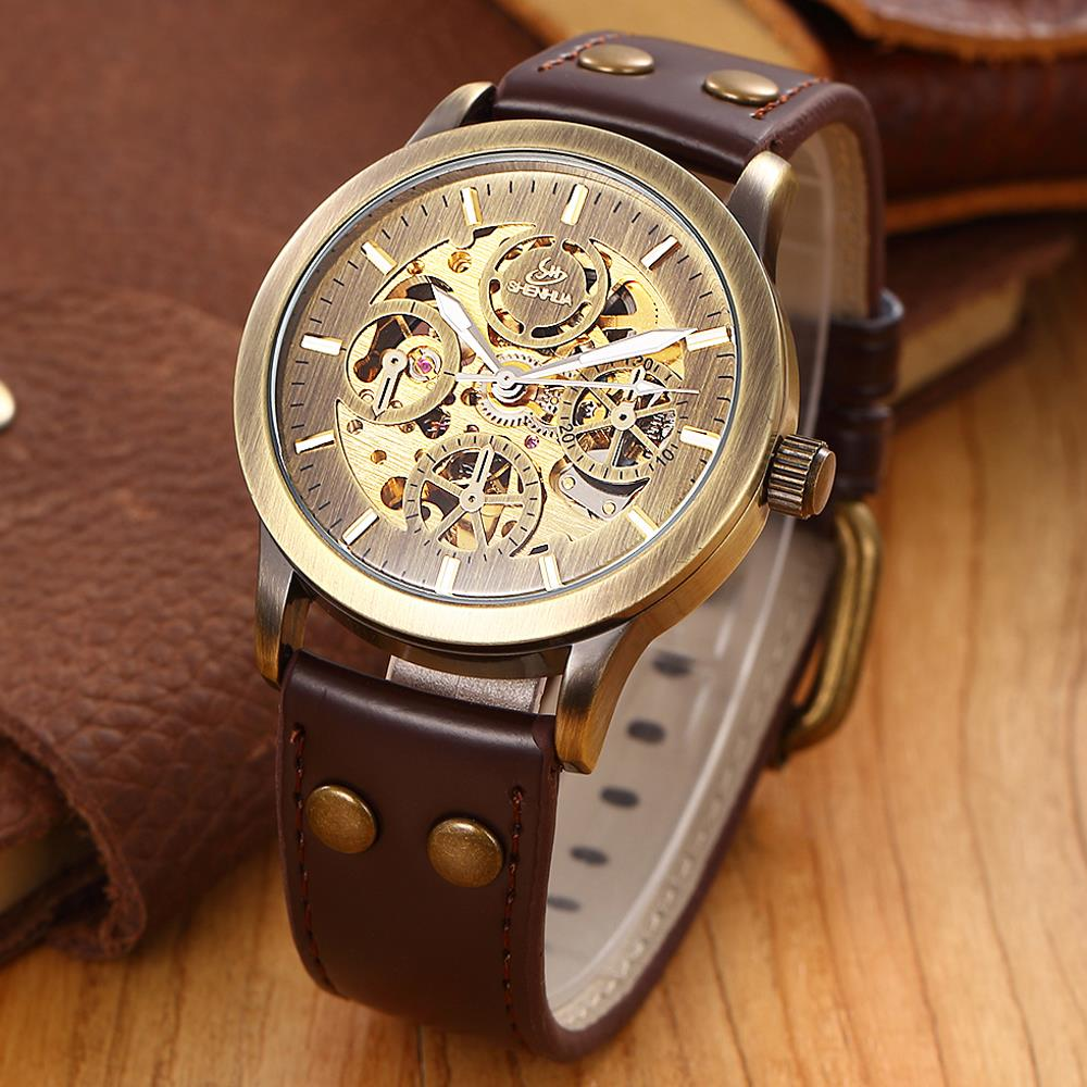 SHENHUA Antique Men Bronze Automatic Mechanical Watch Retro Brass Case Fine Carving Skeleton Dial Leather Strap Wristwatch Gift antique retro bronze car truck pattern quartz pocket watch necklace pendant gift with chain for men and women gift