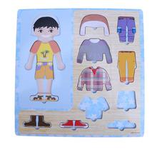 Baby Wood font b Toys b font Boys Girls Dress Changing Jigsaw Clothing Matching Wooden Puzzle