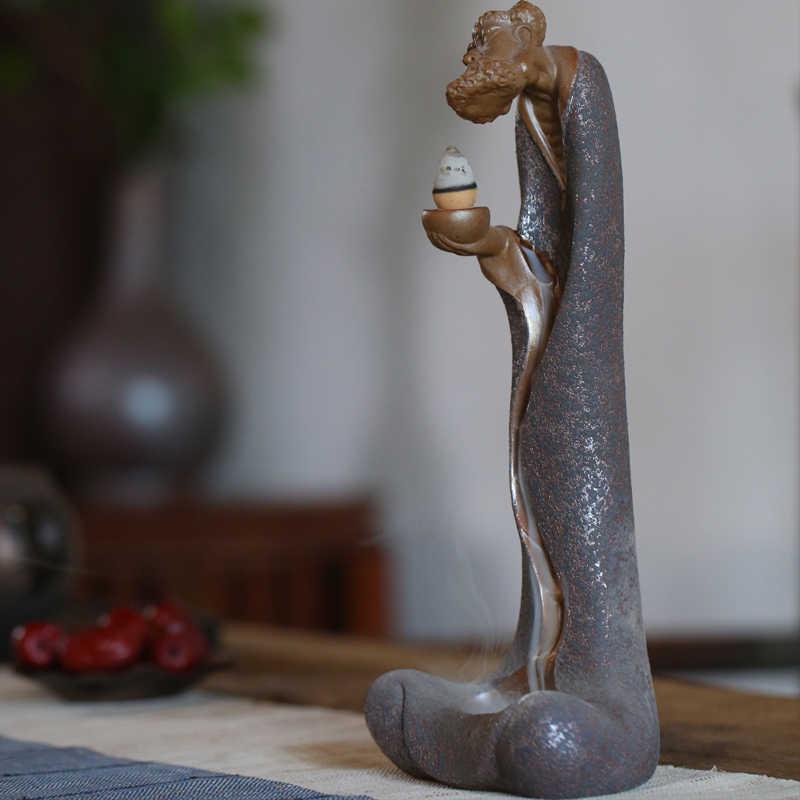 TANGPIN, quemador de incienso cerámico esmaltado de óxido, quemador de incienso Dharma, reflujo de incienso, adornos de cerámica Zen, quemador de incienso de Torre
