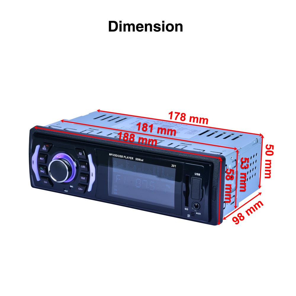 In stock Fast delivery RK 525 RK 301 7 colors backlight Fixed panel Car MP3 player