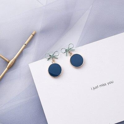 AOMU coréen bleu géométrique acrylique irrégulière cercle creux carré balancent des boucles d'oreilles pour les femmes en métal bosse fête plage bijoux 16