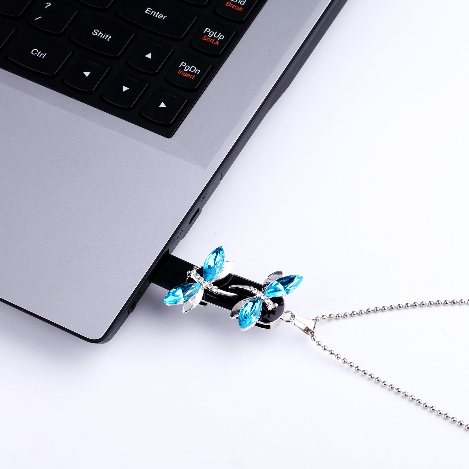 Real Capacity Crystal Diamond Dragonfly USB Flash Drive 128GB Pen Drive 8GB 16GB 32GB 64gb Necklace Jewelry USB Memory Stick