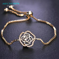 MECHOSEN Zirconia Copper Rose Bracelet For Women Flower Beads Gold Plated Pulsera Wedding Party Christmas Halloween Wrist Bijoux