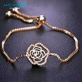 Mechosen zirconia cobre rosa pulsera para las mujeres granos de la flor de oro plateado pulsera del banquete de boda de halloween navidad de pulsera bijoux