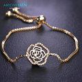 Mechosen zirconia copper rose pulseira para as mulheres contas flor banhado a ouro festa de casamento do dia das bruxas natal pulso pulsera bijoux