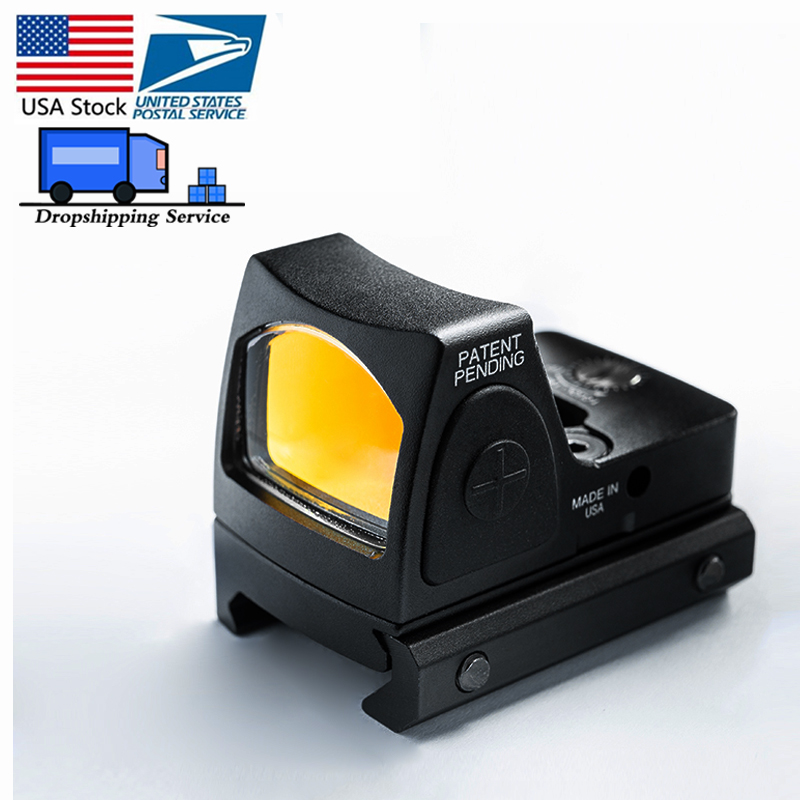 US Stock Mini RMR Red Dot Sight Collimator Glock  Reflex Sight Scope Fit 20mm Weaver Rail For Airsoft Hunting Rifle HT5-0004-2