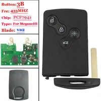 Envío Gratis nueva tarjeta de 4 botones (no inteligente) con PCF7941 para Renault Megane III lago III (1 pieza)