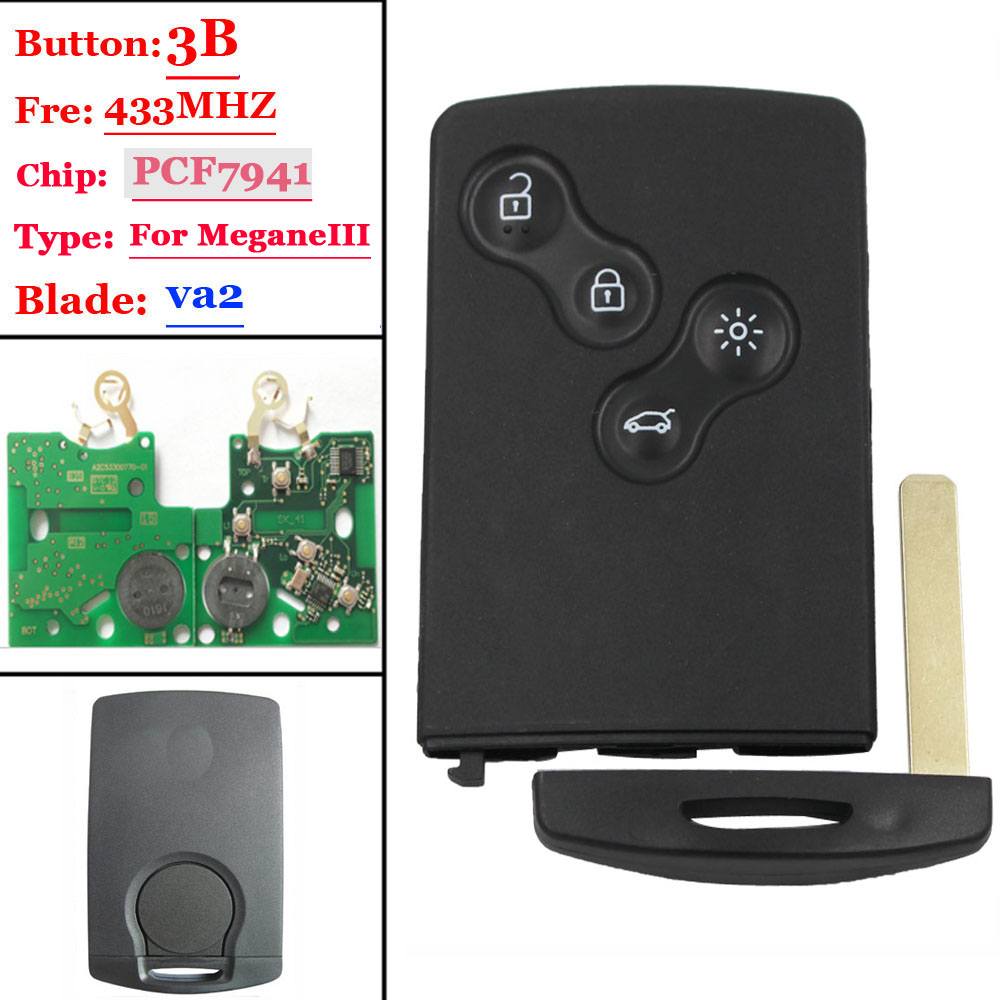 Free shipping New 4 Button Card Not Smart With PCF7941 for Renault Megane III Laguna III 1 piece in Car Key from Automobiles Motorcycles