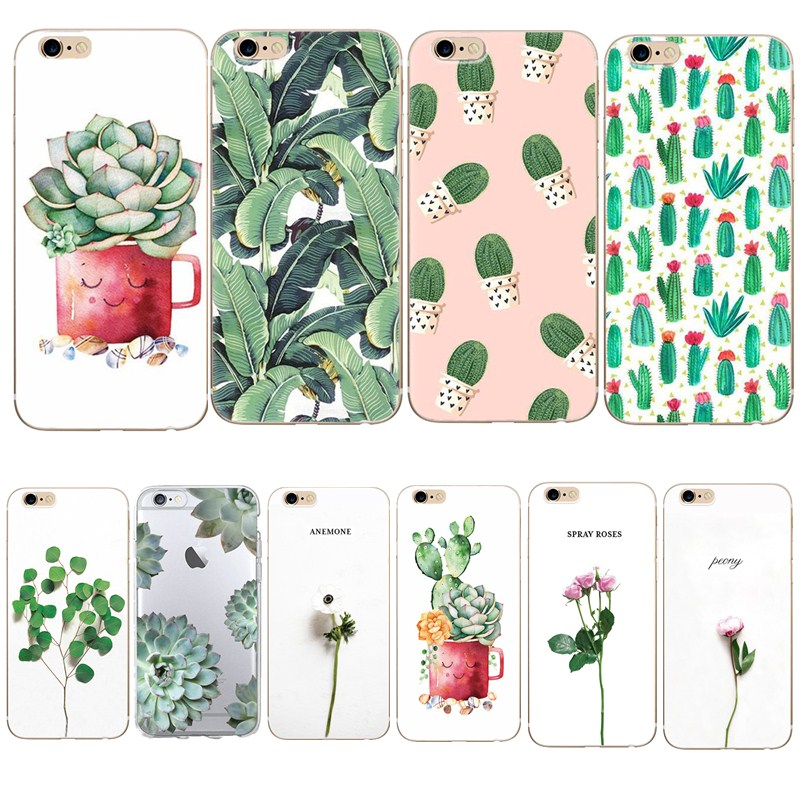 Soft TPU For Silicone Case iphone SE 5S 5 6 6S Cactus Leaves Green Plant Pattern Cover Capa For iphone 8 plus 7 Summer Flower(China)