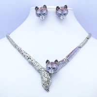 Real Austrian Rhinestone Crystals High Quality Purple Fox Necklace Earring Women Jewelry Sets Clearance Sale