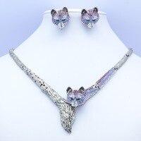 Prawdziwe Austriackie Kryształy Rhinestone Wysokiej Jakości Fioletowy Lisa Naszyjnik Kolczyk Kobiety Biżuteria Ustawia Wyprzedaż