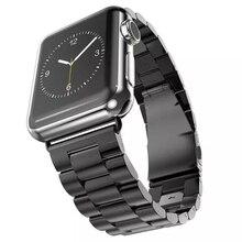 Inoxydable montre en acier bande pour apple watch de courroie de bande avec connecteur fermoir remplacement pour apple watch sangle boucle sangle