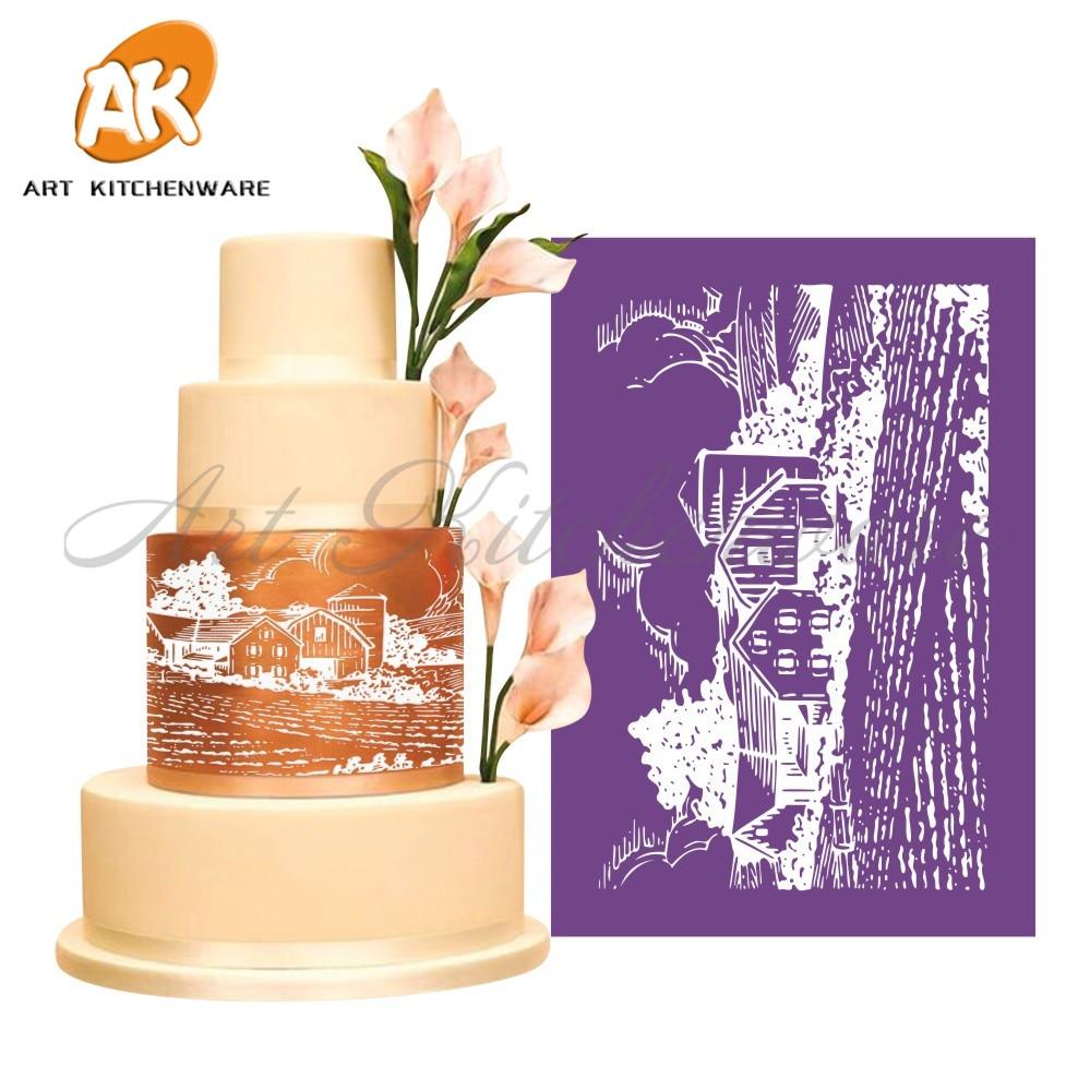 Nuevo campo malla plantilla Encaje cake stencil cake decoración ...