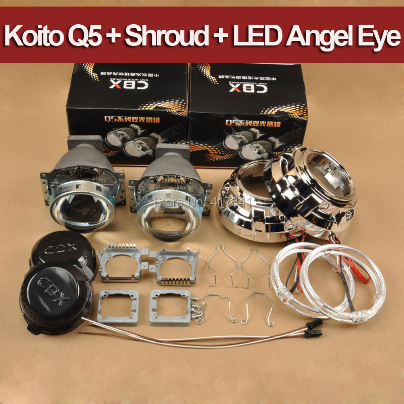 Car Headlight 3 inches Koito Q5 Bi-xenon hid Projector Lens LHD + Projector Masks + Bright LED Angel Eye Halo Ring koito 471