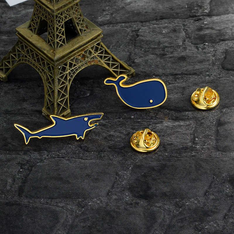 Эмалированная брошь с морским животным, голубая акула КИТ, мини-булавка, джинсовая одежда, Сумка с отворотом, кнопка, значок, мультфильм, ювелирные изделия, подарки для детей