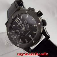 44 мм Парнис черный циферблат черный PVD Дело Кварц Дата хронограф мужские часы P631