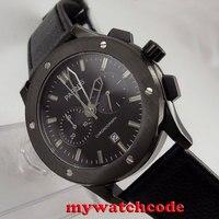 44 мм parnis черный циферблат черный PVD корпус кварцевый хронограф дат мужские часы P631