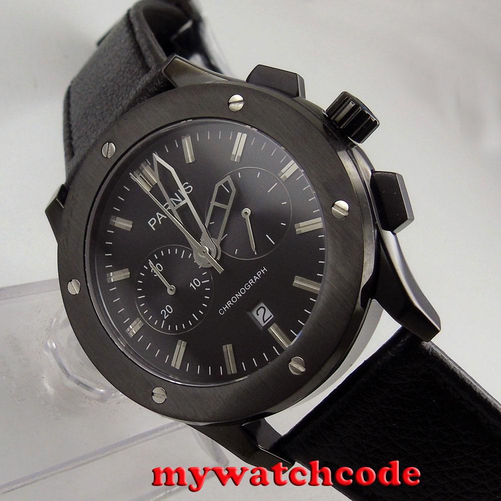 лучшая цена 44mm parnis black dial black PVD case quartz date chronograph mens watch P631