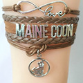 Drop Shipping Infinity Love Maine Coon Bracelet Cats Charm Handmade Bangle Gifts For Cat Pet Lovers Braided Bracelet Bangles