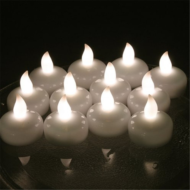 2017 Flameless Warm White Bougie Flottante Amber Floating Candles For Wedding Battery Operated Decorative
