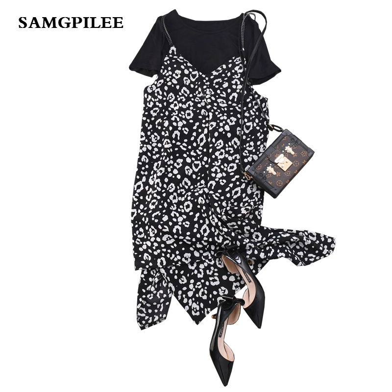 2019 Sale New Fashion Short Sleeve Casual Pullover O neck Elastic Waist Knee length Women Set Plus Size L 4xl in Women 39 s Sets from Women 39 s Clothing