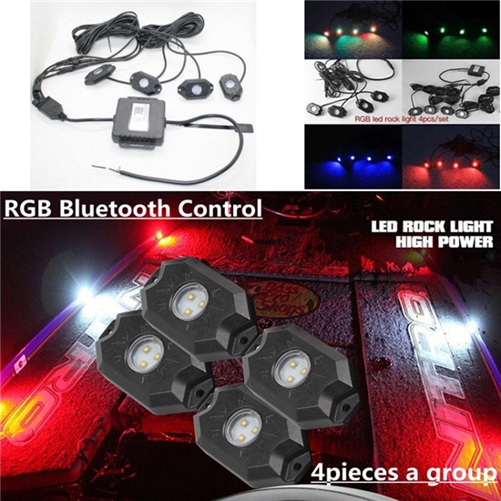 ФОТО 4 PCS RGB Led Rock Lights Alloy Housings Bluetooth control iPhone Android Unlimited Colors Led Rock Light