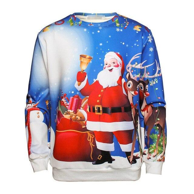 New Arrival 2017 Men and Women 3d Sweatshirts and Hoodies Santa Claus Elk Snowman Print Christmas Clothing Men's Hoodies